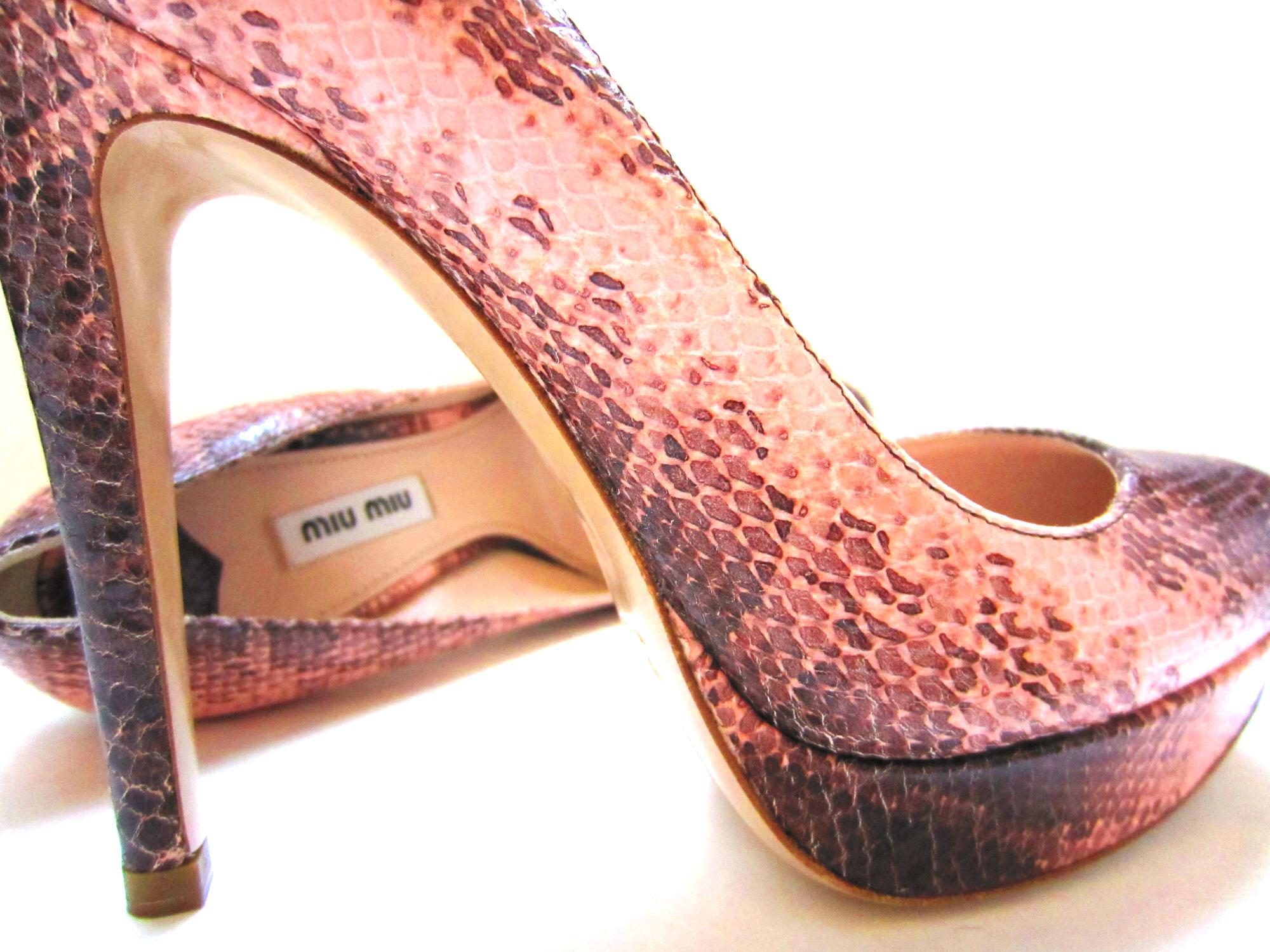 miu miu by prada leather pumps python 39 animal print. Black Bedroom Furniture Sets. Home Design Ideas
