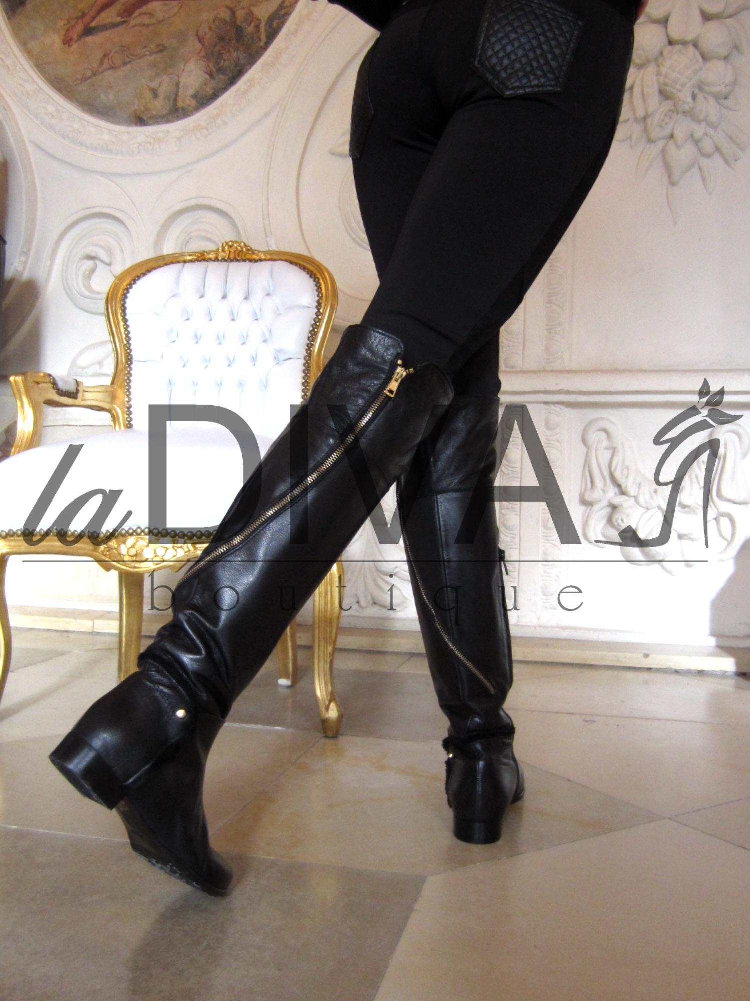 napoleoni designer italy fell stiefel leder 40 zipper overknee boots schwarz ebay. Black Bedroom Furniture Sets. Home Design Ideas