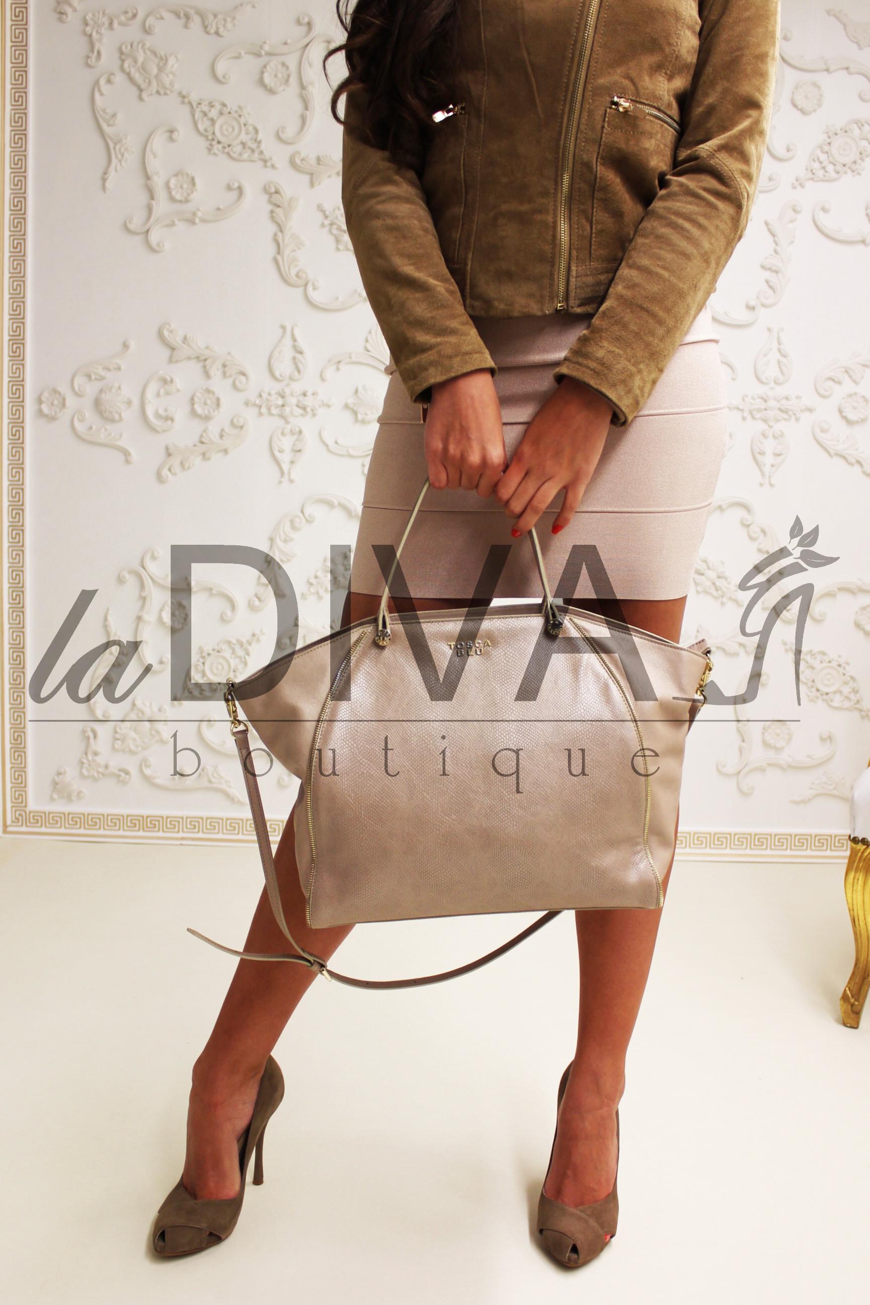 TOSCA BLU ~ Italy Designer Leder Tasche Reptil taupe nude  -> Ecksofa Leder Taupe